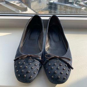 Tods Navy Blue Suede Studded Ballet Flats